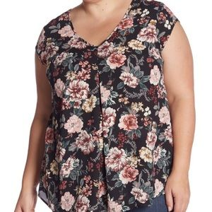 HALOGEN Summer NWT Floral Plus Size Swingy Top 1X